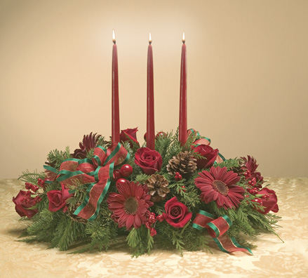 Candlelight Centerpiece Christmas Flowers For Delivery!